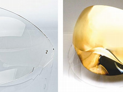 Retractible face shield clear or gold mirrored